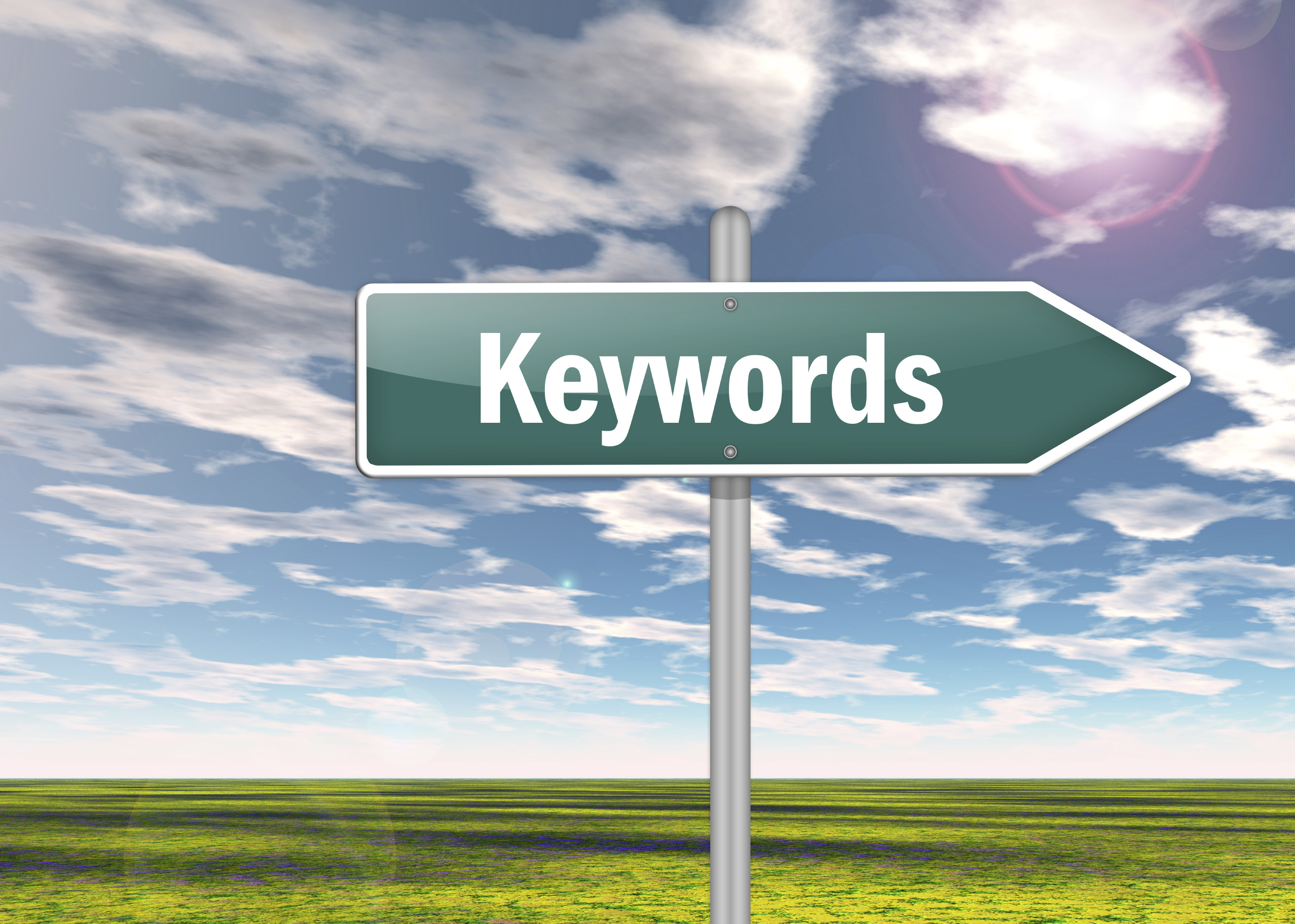 Signpost with Keywords wording