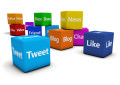 Social Media Web Signs On Cubes