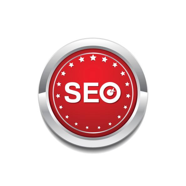 SEO Red Vector Icon Button