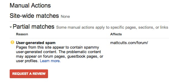 manual webspam actions