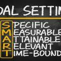 smart goal setting concept hand drawn on blackboard