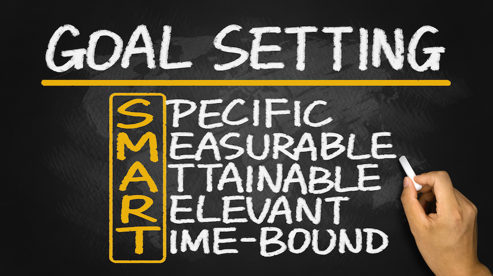 smart goal setting concept hand drawn on blackboard