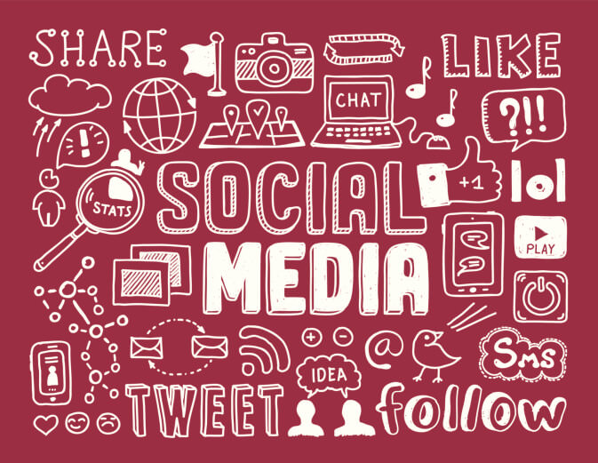 Social media doodles drawing