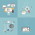 Flat concept of seo process-