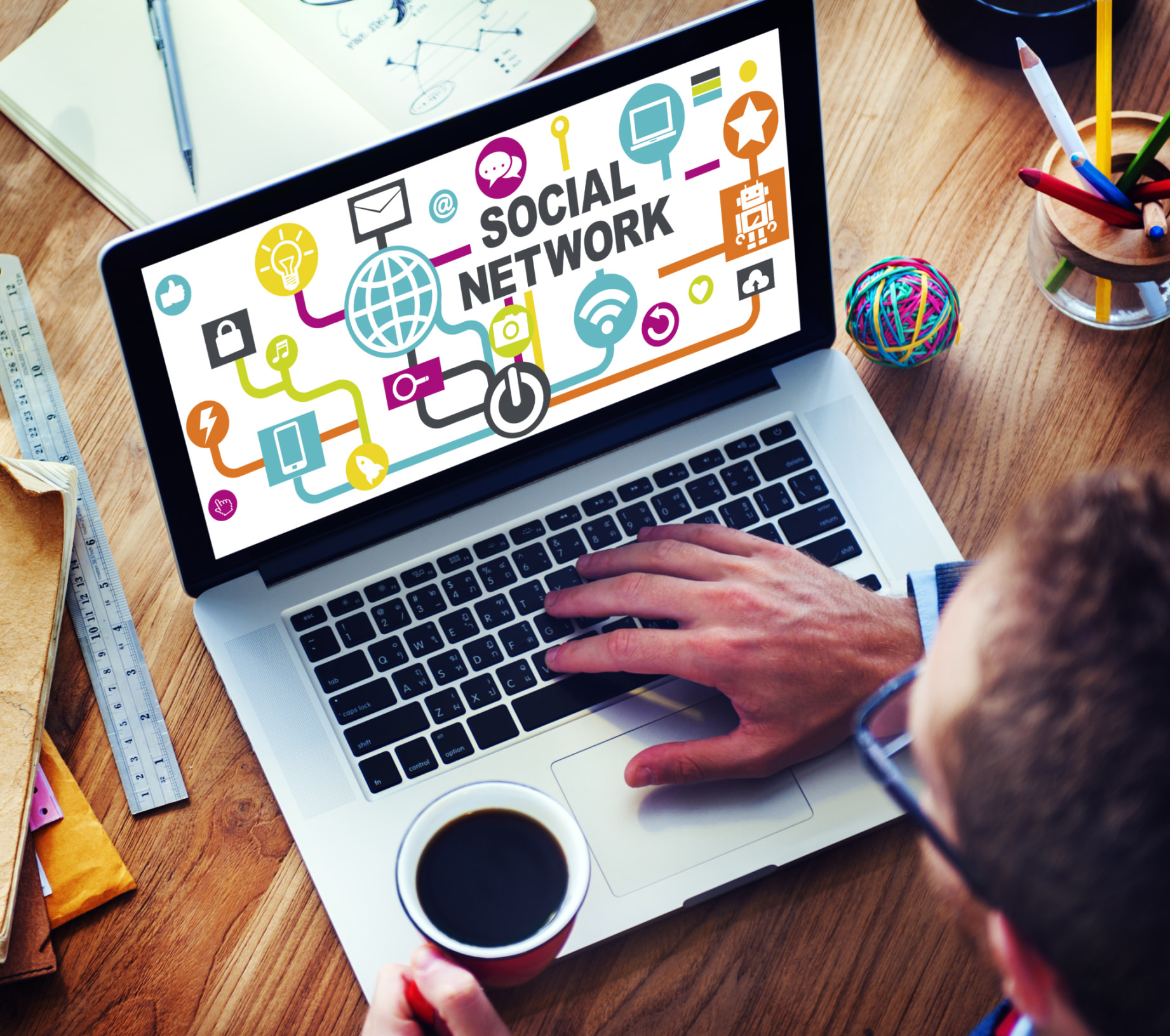 Businessman Planning Strategy Laptop Communication Social Networ