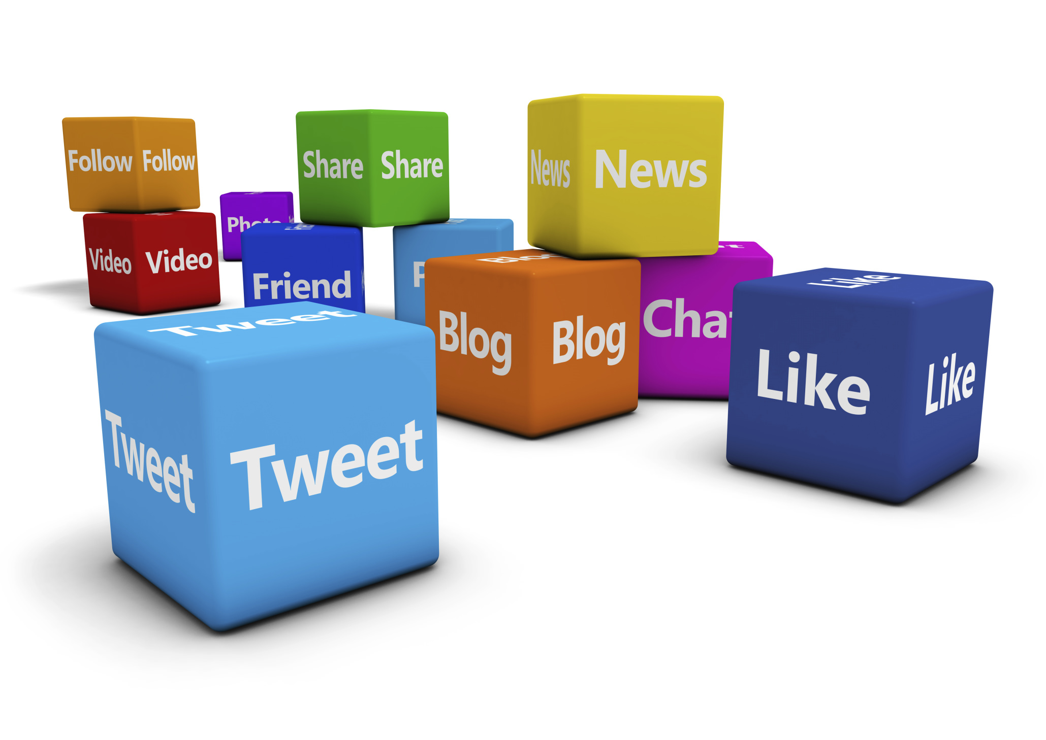 Social Media Web Signs On Cubes